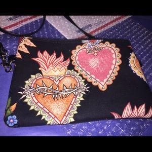 Black Crossbody Clutch W Hearts Design Made In USA
